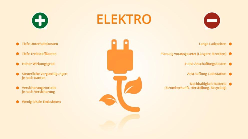 Illustrative Gegenüberstellung von Vor- und Nachteilen des Elektromotors in Tabellenform